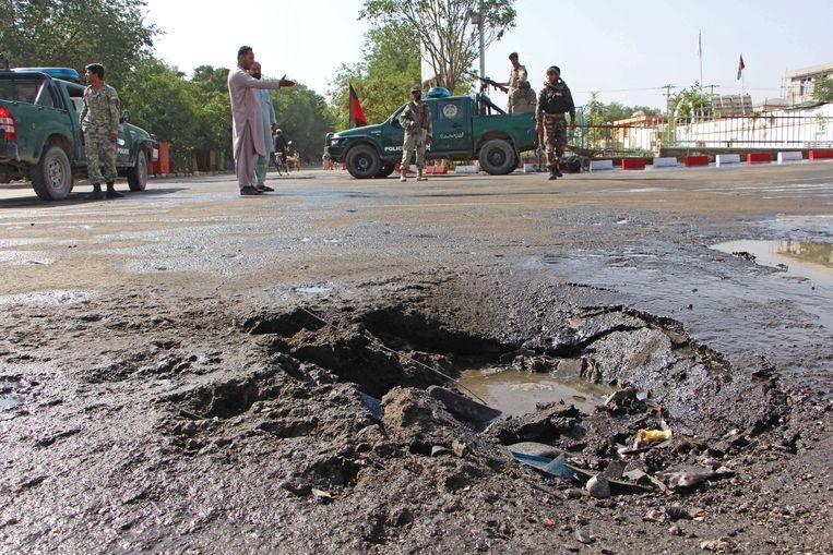 Een eerdere autobom die af ging in Puli Alam, op 31 juli 2020.  Beeld Hollandse Hoogte / AFP
