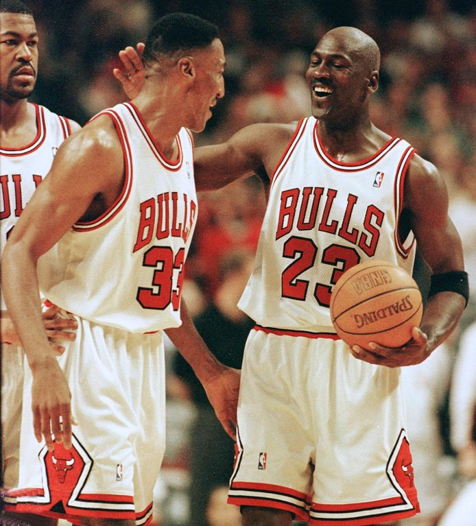 Scottie Pippen en Michael Jordan.