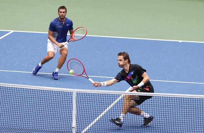 Wesley Koolhof en Nikola Mektic (links) tijdens de US Open.