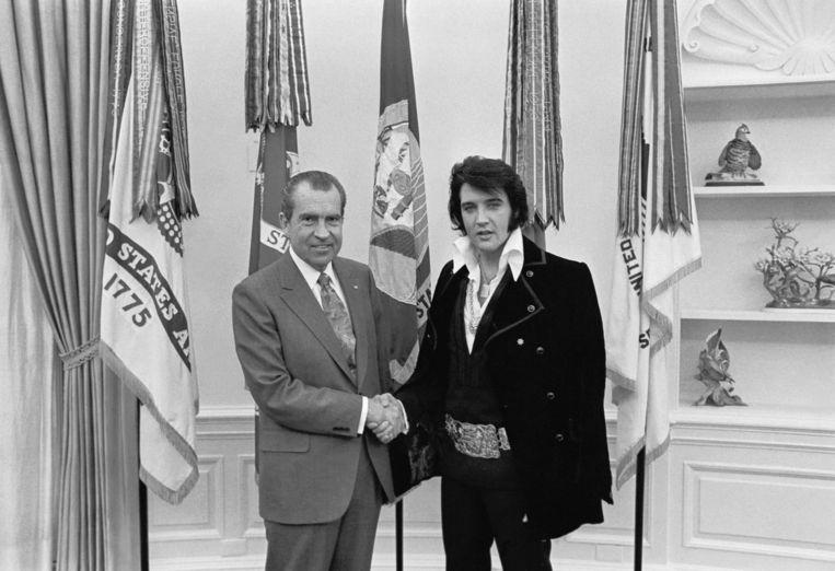 President Nixon en Elvis Presley. Beeld rv