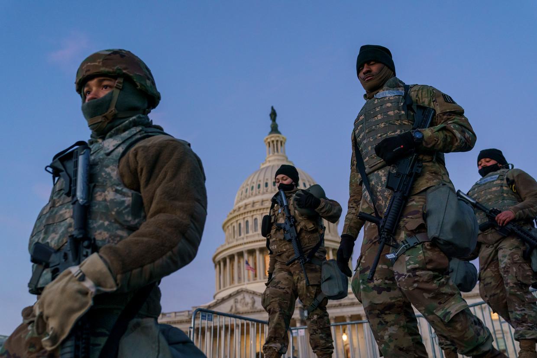 In Washington zijn vandaag rond de 26.000 militairen aanwezig. Beeld AP
