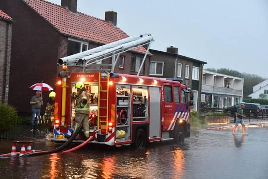 Wateroverlast in Zoutelande.