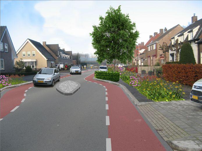 Zo komt de doorgaande route in Zevenbergschen Hoek er straks uit te zien. Doel: dorpskom onaantrekkelijk maken voor sluipverkeer.