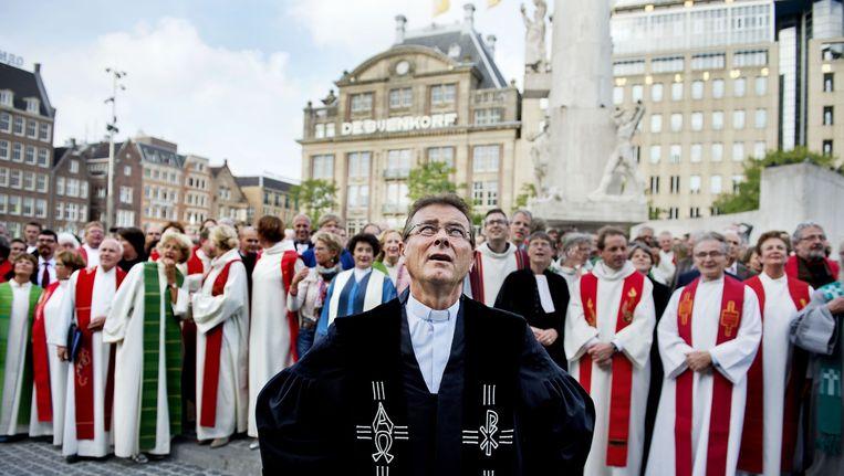 Op de landelijke predikantendag komen honderden dominees en kerkelijke werkers van de Protestantse kerk bijeen in de Nieuwe Kerk. Beeld ANP