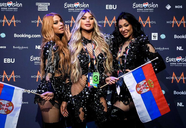 De plaatsing van de Servische vertegenwoordiging, de drie dames van de groep Hurricane, was de verrassendste uitkomst van de tweede halve finale van het Eurovisie Songfestival in Rotterdam. Beeld EPA