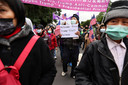 Voorstanders van de onafhankelijkheid van Taiwan betuigen in de straten van de hoofdstad Taipei hun steun aan de Amerikaanse president Donald Trump.