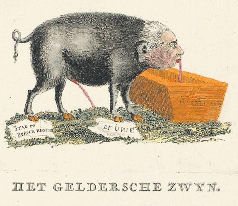 Willem V als piesend zwijn Beeld