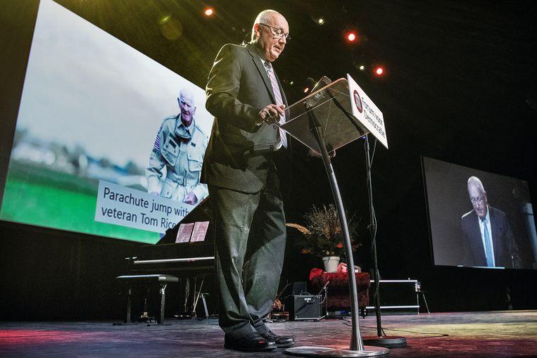 De Amerikaanse ambassadeur Pete Hoekstra tijdens het partijcongres. Beeld Guus Dubbelman / de Volkskrant