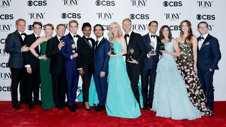 De cast van de musical Dear Evan Hansen. Er zijn in totaal zes Tony's binnengehaald met de musical. Beeld epa