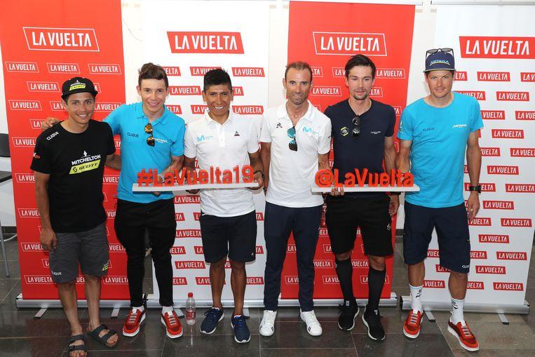 De Vuelta-favorieten: (v.l.n.r.) Esteban Chaves (Colombia), Miguel Angel Lopez (Colombia), Alejandro Valverde (Spanje), Nairo Quintana (Colombia), Primoz Roglic (Slovenië), Jakob Fuglsang (Denemarken). Beeld Photo News