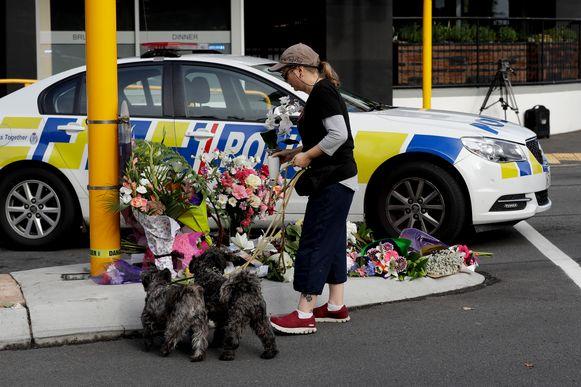 Een herdenkingsplek vlakbij de Masjid Al Noor-moskee in Christchurch.