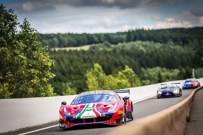 De Ferrari van Louis Machiels in de vrije oefenritten van de 73ste editie van de 24 uur van Spa.
