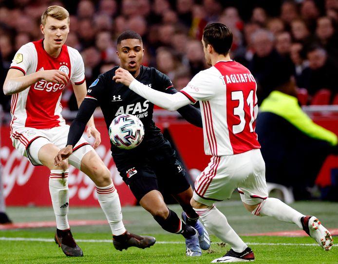 AZ was vorig seizoen in de eredivisie twee keer te sterk voor Ajax. Myron Boadu (m) in duel met Perr Schuurs (l) en Nico Tagliafico.