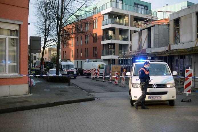 Gaslek in de Vaarstraat in Leuven.