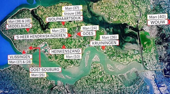 De plaatsen waar de verdachten werden aangehouden.