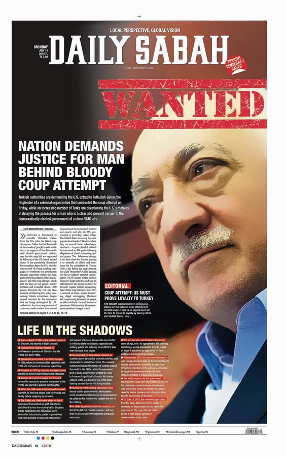 Voorpagina van Daily Sabah in juli vorig jaar.