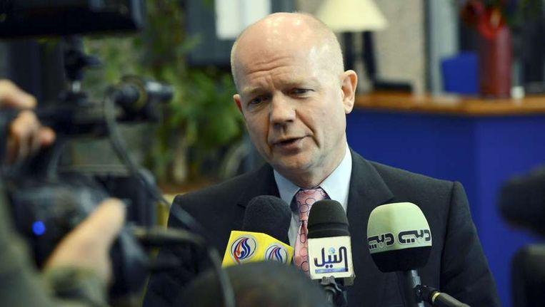 De Britse minister van Buitenlandse Zaken William Hague vorige week in Brussel, waar hij onder meer sprak over de crisis in de Gazastrook. Beeld afp