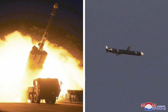 De lancering van de raketten.