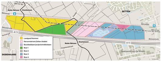 De verdeling van perceelseigendommen in het zoekgebied aan de noordkant van de A15 en Betuweroute.