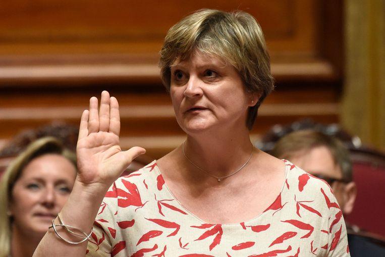 Sabine Laruelle tijdens de eedaflegging in de Senaat. Beeld Photo News