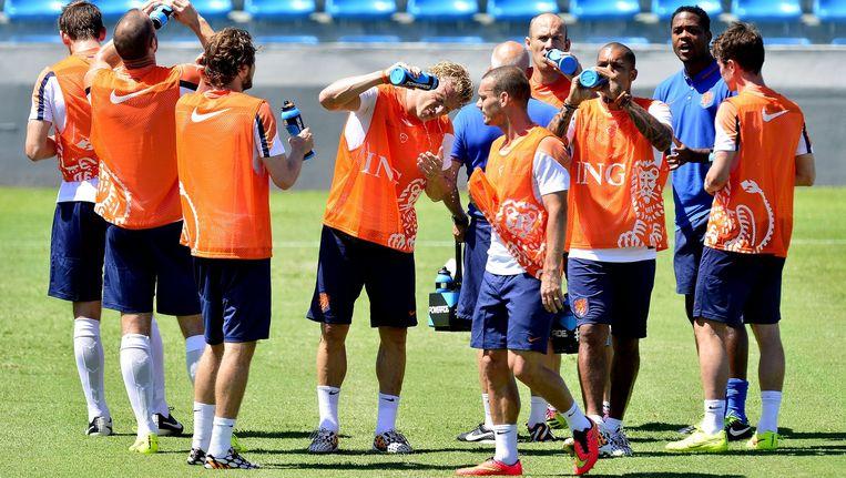 Het Nederlands elftal bereidt zich in Fortaleza voor op de wedstrijd tegen Mexico Beeld anp