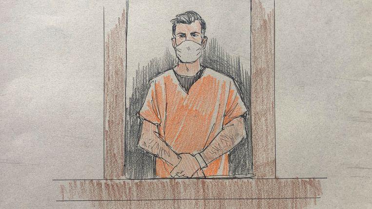 Thomas Lane (37) verscheen vorige maand met een mondmasker voor een rechter. Cameraploegen waren niet toegelaten tijdens de rechtbankzitting,  een tekenaar legde deze schets vast. Beeld AP