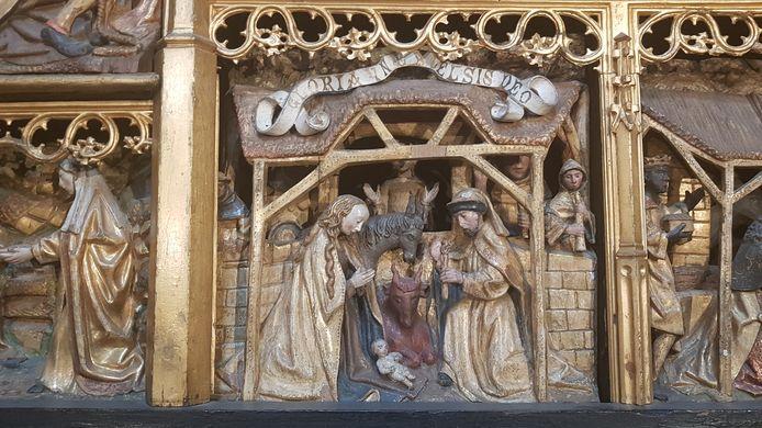 De stal in de SInt-Jan is gebaseerd op een houtsnede in het lijdensaltaar van rond 1500 dat in de Sint-Jan staat