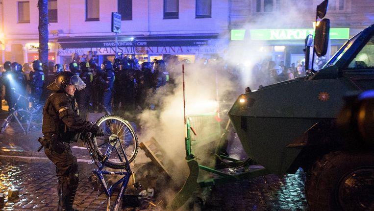 Protest in Hamburg tegen de G20-top die daar gehouden wordt. Beeld getty
