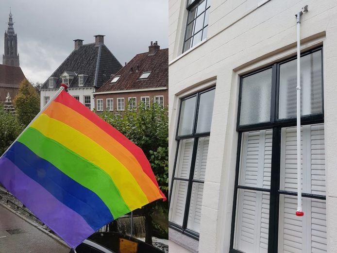 De Pride-vlag werd dit weekend vernield.