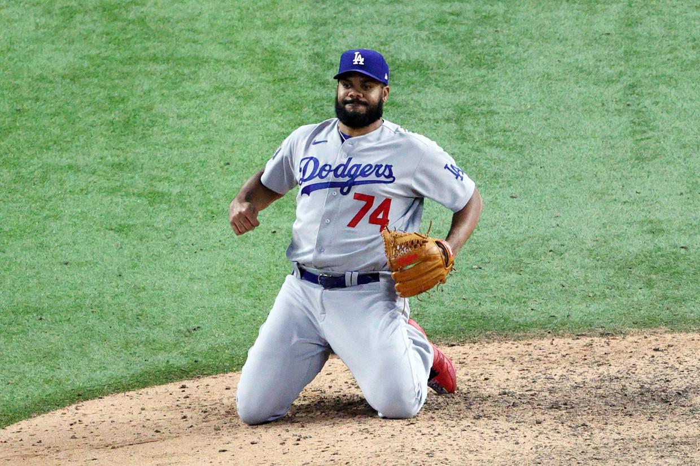 Kenley Jansen van de Los Angeles Dodgers, een van de grote MBL-sterren.  Beeld AFP