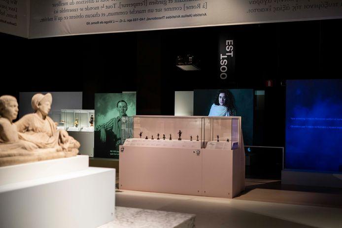 Een beeld van de tijdelijke tentoonstelling 'Oog in oog met de Romeinen'.