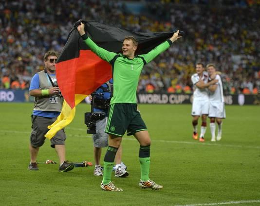 Manuel Neuer na de wereldtitel in 2014.