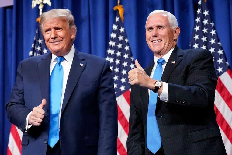 Trump en Pence tijdens de Republikeinse conventie in augustus vorig jaar. Beeld AP