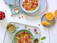 Wat Eten We Vandaag: Pancake cereal met sinaasappel en frambozen