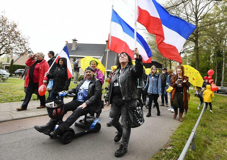 Demonstratie tegen coronamaatregelen in Barneveld. Beeld EPA