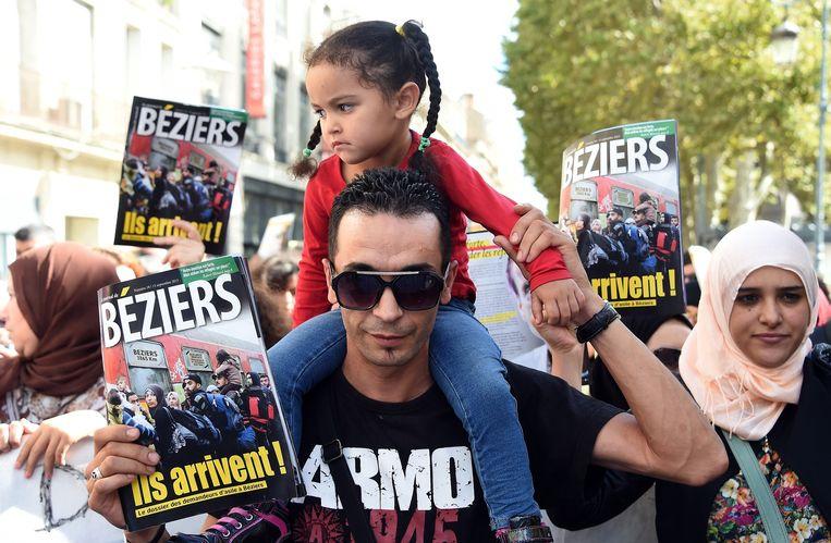 Protestmars tegen het extreemrechtse beleid van de burgemeester van Béziers. Beeld AFP