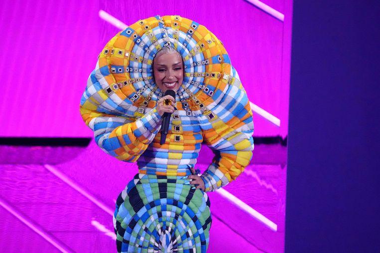 Doja Cat en haar kleurrijke outfit. Beeld Charles Sykes/Invision/AP