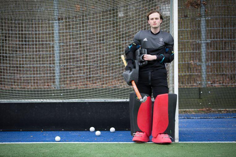 Lucas Nieuwenhuis, hockeykeeper bij USHC in Utrecht.