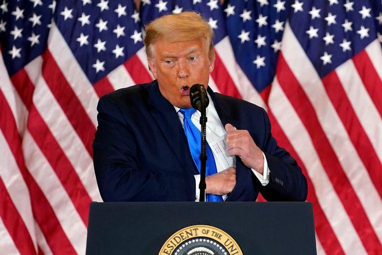 President Donald Trump gaf een speech in de East Wing van het Witte Huis. Beeld AP