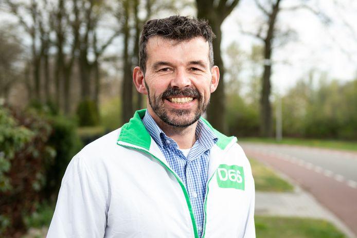 Het D66-jack trekt Herman Klein Velderman niet meer aan tijdens de campagne voor de komende raadsverkiezingen in Rijssen-Holten.