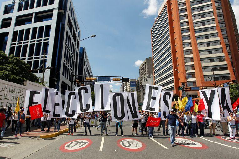 Een betoging tegen Maduro, vorige maand in Caracas. Beeld REUTERS