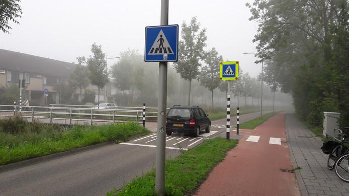 De nieuwe waarschuwingsborden bij de twee zebrapaden in de Rooseveltweg. Het tweede blauwe bord gaat knipperen als iemand op de knop bij het zebrapad heeft gedrukt.