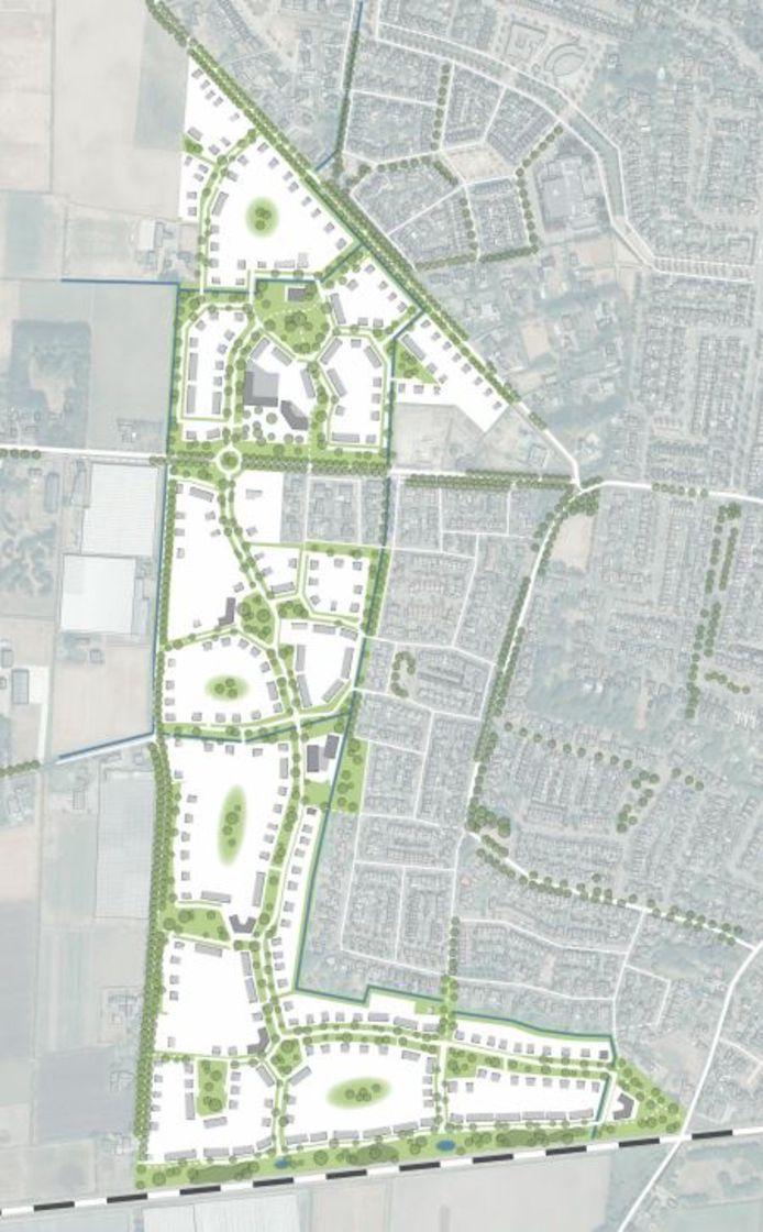 De hoofdstructuur van uitbreidingswijk Beeks Buiten aan ten westen van Prinsenbeek.