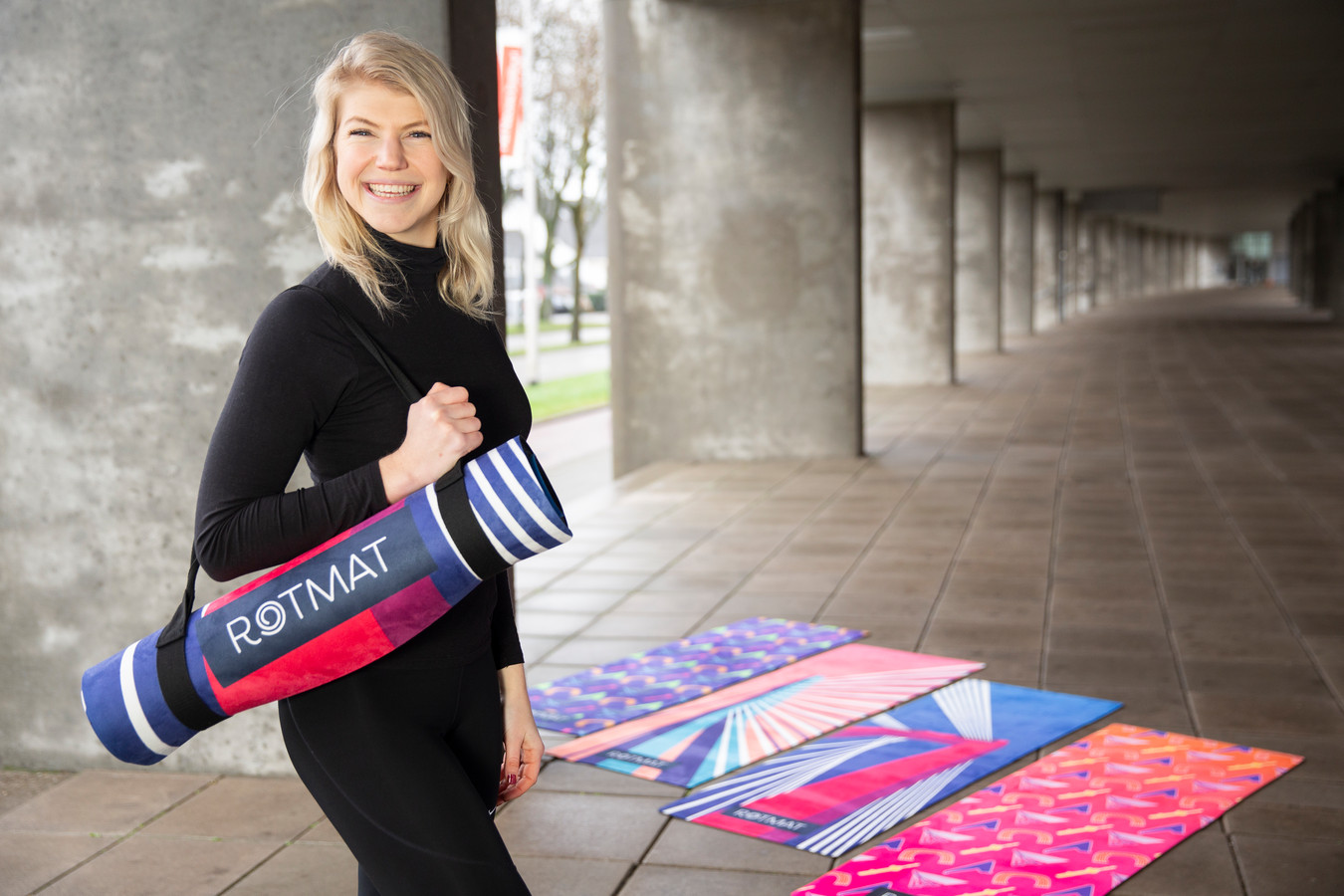 Maudi Oerlemans (28) heeft met Rotmat kleurrijke én duurzame sportmatten op de markt gebracht.