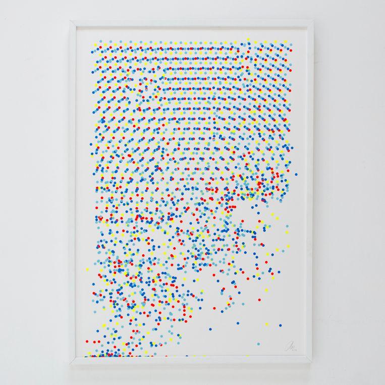 Op-art (optische kunst) van 'stickerkunstenaar' Peim van der Sloot. Beeld Peim_van_der_Sloot