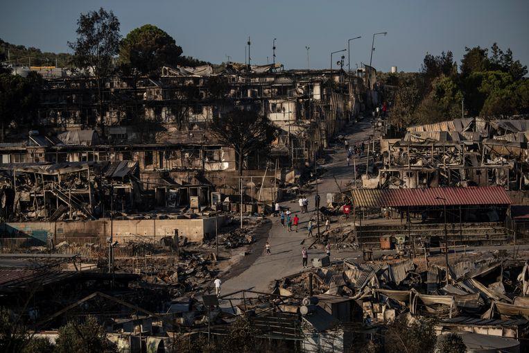 Het verwoeste kamp Moria op Lesbos. Beeld AP