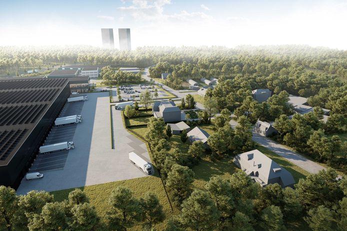 Impressie van het distributiecentrum, met ontsluiting via de Koningshoeven. Ontwikkelaar SCP wilde oorspronkelijk een veel groter distributiecentrum met een ontsluiting op de Kempenbaan-Oost.