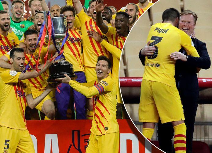 FC Barcelona viert feest na het winnen van de Copa del Rey.