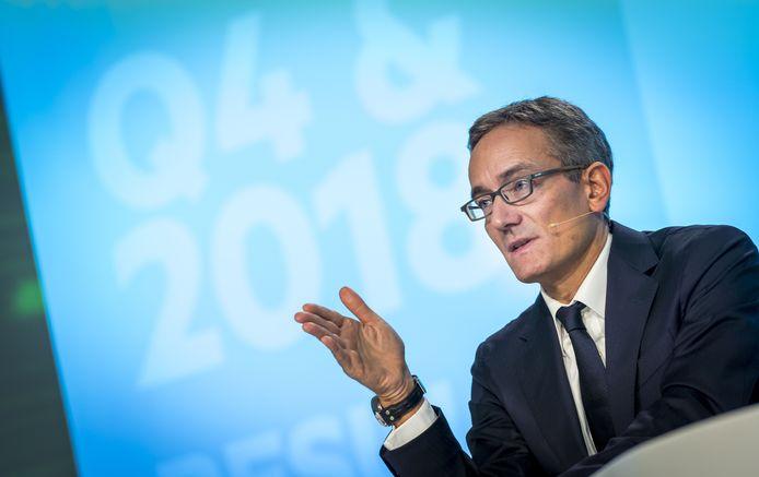 Maximo Ibarra  tijdens de presentatie van de jaarcijfers 2018 van KPN.