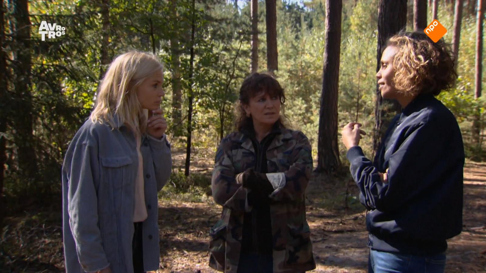 De drie finalisten van het 21ste seizoen van Wie is de Mol?: Charlotte, Renée en Rocky.